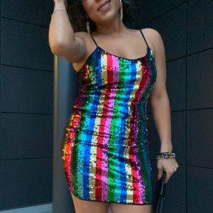 Adorable rainbow stripe mini dress, NEW!